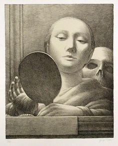 """George Tooker (American, 1920-2011), """"Mirror,""""  1978; Indianapolis Museum of Art, Fisk Landers Memorial Fund, 1989.17; © George Tooker"""
