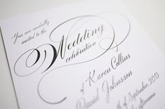 Black and White Calligraphy Wedding Invitation by 3EggsDesign