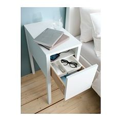 NORDLI Nightstand - IKEA: perfect height, width and has exactly what I need but probably does not fit in with our bedroom furniture.