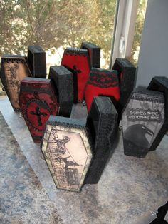 Awesome altered gothic coffin boxes... To go with the Halloween Barbies.