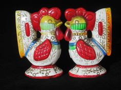 Lego Folk-Art Rooster Salt and Pepper by NowAndThenConnection