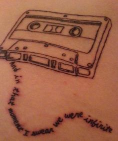 """fuckyeahtattoos: """" Right hip. Quote from """"The Perks of Being a Wallflower"""" """" I think I just fell in love with whoever got this tattoo. Perks of Being a Wallflower helped keep me together in high. Cool Tattoos, Tatoos, Crazy Tattoos, Awesome Tattoos, Perks Of Being A Wallflower Quotes, Irezumi, Skin Art, Body Mods, Tattoo Inspiration"""