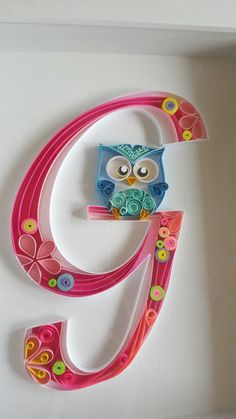 "Quilled ""G"" ... luv the addition of a little quilled owl ..."