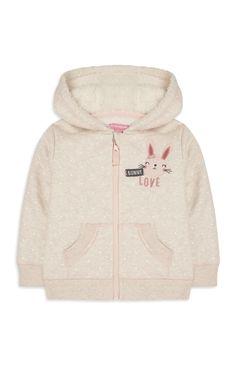 Baby Girl Cream Bunny Zip Top