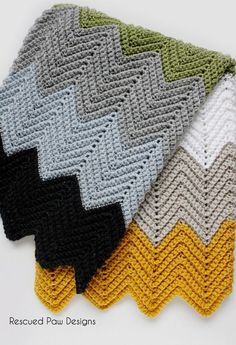 Wonders Chevron Crochet Blanket Pattern by Rescued Paw Designs
