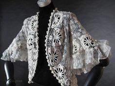 Exceptional Antique Irish Crochet Jacket   http://www.rubylane.com/item/546129-E-100/Ex78ceptional-Antique-Irish-Crochet-Jacket#