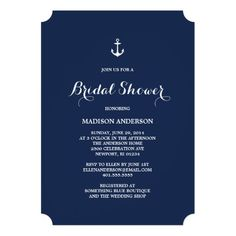 Nautical bridal shower invitation featuring a white anchor on a navy blue background. Simple and classic. Created By FINEandDANDY