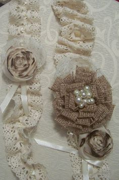 burlap gaurders  | Burlap Wedding Bridal Crocheted Lace Garter by sugarplumcottage
