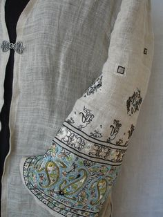 embroidered sleeve by Laurie Lemelin Fiber Art, Needlework, Weaving, Quilts, Knitting, Sleeve, Artist, Embroidery, Manga