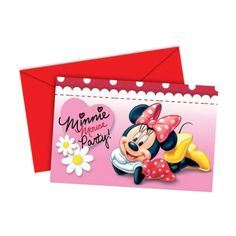 6 Disney Minnie Mouse Red Polka Dots Party Invitations & Envelopes