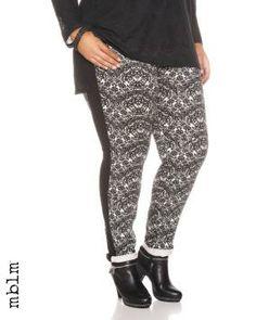 Plus Size mblm Side Stripe Lace Print Pants   Penningtons