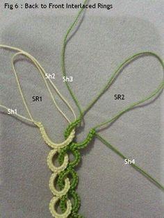 Step by step tutorial on how to make under & over Interlaced Rings using 4 shutt… - Tatting Needle Tatting Patterns, Crochet Stitches, Crochet Patterns, Shuttle Tatting Patterns, Tatting Jewelry, Tatting Lace, Crochet Bracelet, Crochet Earrings, Lace Bracelet