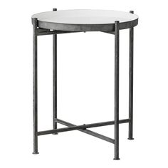 Lene+Bjerre+Zina+Side+Table+-+Round+iron+tray+side+table+with+folding+frame. Add+some+classic+chic+style+to+lounge+areas+or+bedrooms+with+this+dark+zinc+coloured+metal+side+table+and+contrasting+white+table+top. Each+table+has+a+handy+raised+perimeter+edge+profile+which+means+items+can't+roll+off+and+also+adds+a+unique+design+feature. Mix+this+eclectic+industrial+theme+with+other+textural+pieces+such+as+rustic+woods+and+heavy+chunky+knit+wools+in+natural+tones+for+the+ultimate+in+relaxed+...