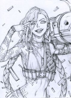 Anime Drawings Sketches, Cool Sketches, Manga Drawing, Jinx League Of Legends, League Of Legends Characters, Character Drawing, Character Illustration, Manga Illustration, Lol Jinx