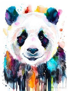 Tattoo Ideas Female Discover Colourful panda watercolor painting print by Slaveika Aladjova art animal illustration Colorful Animal Paintings, Colorful Animals, Cute Animals, Colourful Art, Panda Painting, Painting Prints, Wall Art Prints, Watercolor Animals, Watercolor Art
