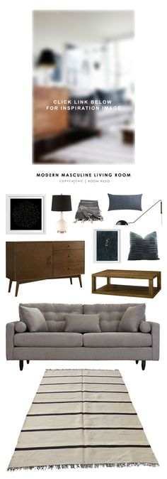 Brian Paquette's cool, blue modern masculine living room is recreated for less by Copy Cat Chic | budget home decor and design looks for less by @audreycdyer