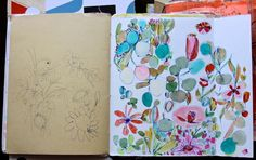 Pam Garrison's art journal - I just love that painting on the right! It is so happy!