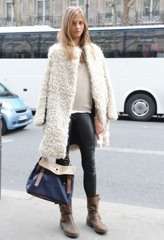 One of may favourite looks: fur coat and leggings + beige sweater  (I have all these pieces and love the outfit)