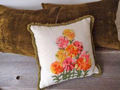 vintage embroidered spring flowers