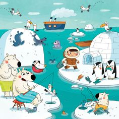 Praatplaat : Le_pole_nord So I guess the penguins are there on vacation! Writing Pictures, Silly Pictures, Picture Writing Prompts, Communication Orale, Picture Story, Speech Therapy Activities, Winter Theme, Children's Book Illustration, Speech And Language