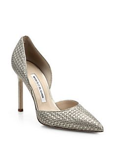 Manolo Blahnik - Star-Stamped Metallic Leather D'Orsay Pumps