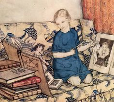 Arthur Rackham. A Portrait of the Artist's Daughter, Barbara, 1915. Rackham's portrait of his daughter Barbara – intended as a story illustration – has her beside a pile of books, out of one of which, almost as big as herself, she is designing a costume for her doll.