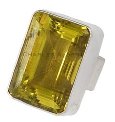 Citrine Box Cocktail Ring set in sterling silver.