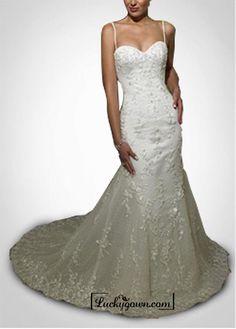 Beautiful Elegant Satin & Tulle  Mermaid/trumpet Spaghetti Straps Wedding Dress In Great Handwork
