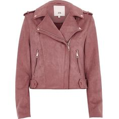 River Island Pink biker jacket (€100) ❤ liked on Polyvore featuring outerwear, jackets, tops, coats, pink, coats / jackets, women, motorcycle jacket, red jacket and tall motorcycle jacket