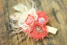RTS Peach Coral Ivory & pink shabby chic by AdoraBowsByLeilaHale, $16.25