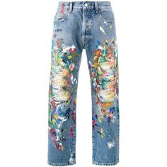 Palm Angels Distressed Painted Jeans (£515) ❤ liked on Polyvore featuring men's fashion, men's clothing, men's jeans, blue, mens distressed jeans, mens torn jeans, mens ripped jeans, mens blue jeans and mens destroyed jeans