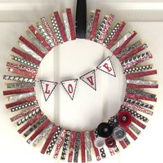 Clothes pin wreath!  Pick your colors for the season, cute to hold photos, cards, tea bags.......