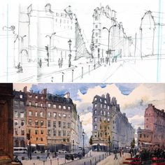 Prep study for my Grands Boulevards painting - and the finished painting. #paris #watercolour #art #grandsboulevards #haussmann #sketch #watercolour_gallery #painting #drawing