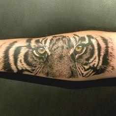 Tiger Tattoo by Craig Goss. A bit of fun with this tiger yesterday ! Ink splatter to add next ! Tigergesicht Tattoo, Bicep Tattoo, Lion Tattoo, Piercing Tattoo, Mens Tiger Tattoo, Tiger Eyes Tattoo, Tiger Tattoodesign, Ink Splatter, Cool Tattoos For Guys