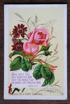 Victorian Christmas Greetings Card Religious Embossed Pink Roses | eBay