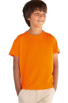 Kinder t-shirt met ronde hals en korte mouwen    - 100% katoen, single jersey  - grammage: 160 g/m² (wit), 165 g/m² (kleur)  - de kleur Heather Grey bestaat uit 97% katoen en 3% polyester  - rib halsboord met lycra  - open-end garen met Belcoro®  - ook verkrijgbaar in een meisjes, dames en unisex model  - ook verkrijgbaar in de maten voor 1/2 en 2/3 jaar (in beperkt aantal kleuren)   - regular fit