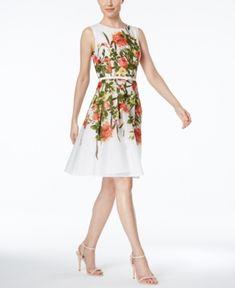Tommy Hilfiger Floral-Print Belted Fit & Flare Dress - White/Green Floral 18