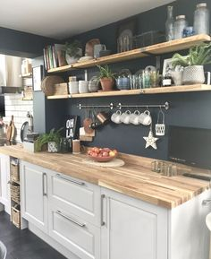 Future Home Interior Open shelving butcher block countertops.Future Home Interior Open shelving butcher block countertops Home Decor Kitchen, Rustic Kitchen, Country Kitchen, Kitchen Interior, New Kitchen, Home Kitchens, Kitchen Board, Kitchen Tops, Interior Paint