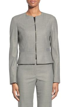 BOSS 'Jamyva' Stretch Wool Blend Crop Jacket available at #Nordstrom