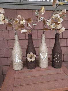 Wine Bottle Decor by on Etsy… Glass Bottle Crafts, Wine Bottle Art, Diy Bottle, Home Crafts, Diy And Crafts, Do It Yourself Furniture, Wine Craft, Bottles And Jars, Wrapped Wine Bottles