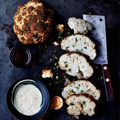 Halloween Treat...roasted brains? Roasted Cauliflower with Tahini Sauce Recipe - Duskie Estes | Food & Wine
