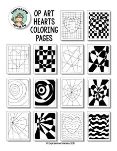 """Not only will your students will """"LOVE"""" these Op Art Hearts Coloring Pages, but you can also sneak in some lessons about colors as you have them choose a color scheme to color them in. Kunstunterricht Op Art Hearts Coloring Pages Middle School Art, Art School, High School, Op Art Lessons, Drawing Lessons, Arte Elemental, Opt Art, Illusion Kunst, Heart Coloring Pages"""