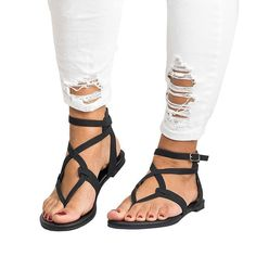 3c9e93573081 Ferbia Womens Summer Sandals Flat Ankle Buckle Criss Cross Gladiator Thong  Flip Flop Casual shoes   Thanks for viewing our image.