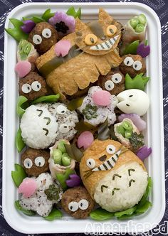 Bento #46: Inari-zushi Totoro bento! by AnnaTheRed, via Flickr
