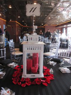 Lantern Centerpiece with rose petals Cheap red candles after christmas Flower petals would be cheaper too Latern Centerpieces, Lantern Centerpiece Wedding, Wedding Lanterns, Wedding Table Centerpieces, Reception Decorations, Centerpiece Ideas, Shower Centerpieces, White Lanterns, Candle Lanterns