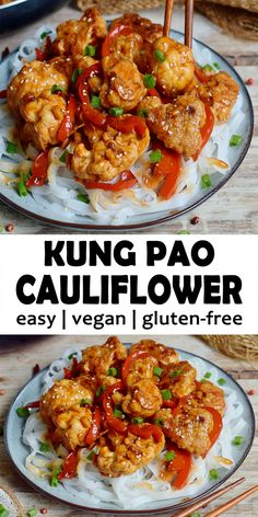 This Kung Pao Cauliflower is a tasty stir fry thats comforting, hearty, spicy, and satisfying. The Kung Pao sauce have a Vegetarian Chinese Recipes, Easy Healthy Recipes, Easy Dinner Recipes, Whole Food Recipes, Kung Pao Cauliflower, Cauliflower Recipes, Cauliflower Stir Fry, Easy Cooking, Cooking Recipes