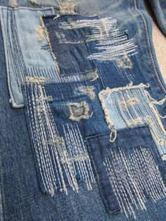Repaired, mended denimSource by howtmakeGlobal leading fashion trend forecasting company for brands, designers and retailers for better market insight, silhouettes, color and textile direction. Sashiko Embroidery, Japanese Embroidery, Embroidery Ideas, Boro Stitching, Design Textile, Denim Art, Visible Mending, Make Do And Mend, Mode Jeans