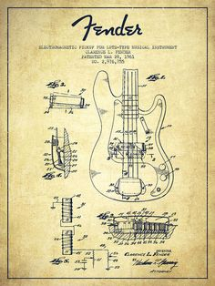 Fender Poster featuring the drawing Fender Guitar Patent Drawing From 1961 by…