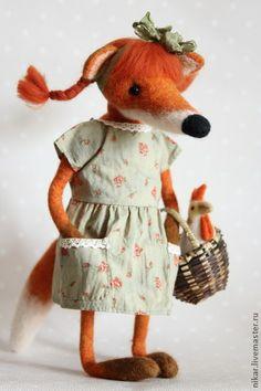 Лиска Алиска, лисичка-тедди, валяная из шерсти. Handmade.