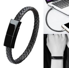 Here is a classic design leather Bracelet Data Charging Cable that you can wear on your wrist or can be attached on your purse keychain backpack briefcase or whatever you. Car Gadgets, Gadgets And Gizmos, Unisex Looks, Accessoires Iphone, Charging Cable, Braided Leather, Cool Things To Buy, Stuff To Buy, Briefcase